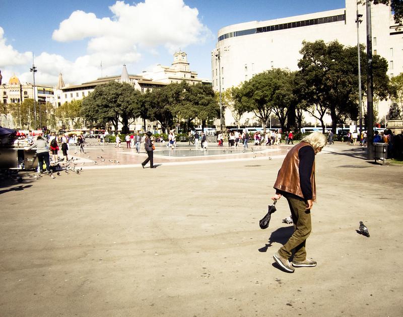 Vagando por la plaza.