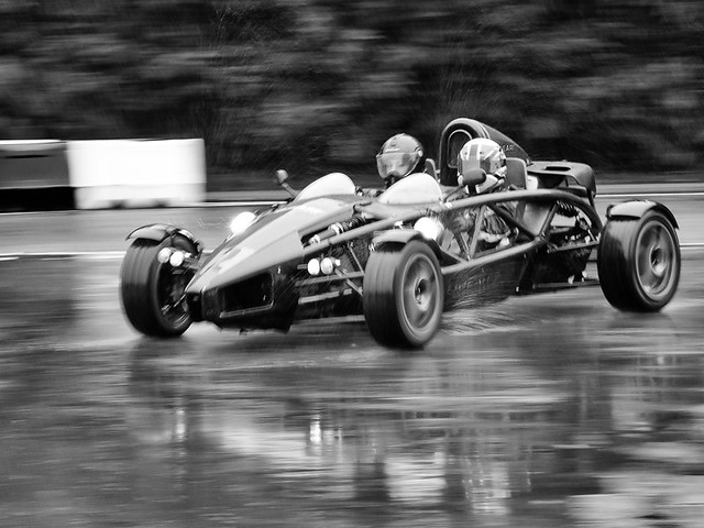Ariel Atom in the rain at Longcross