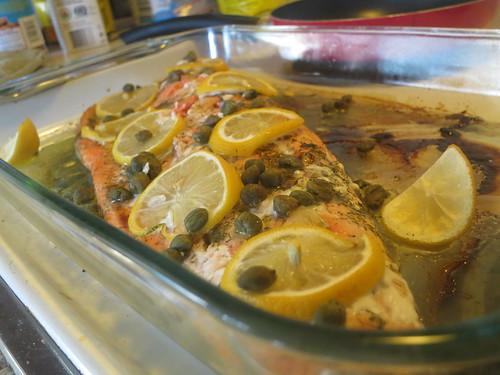 Baked lemon caper salmon