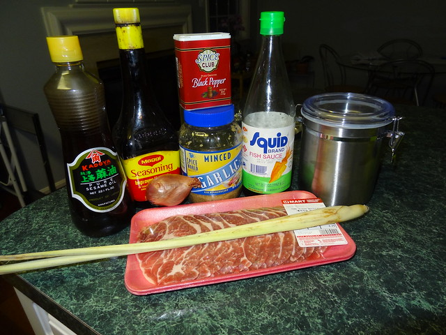 Pork marinade ingredients for Bun Thit Nuong