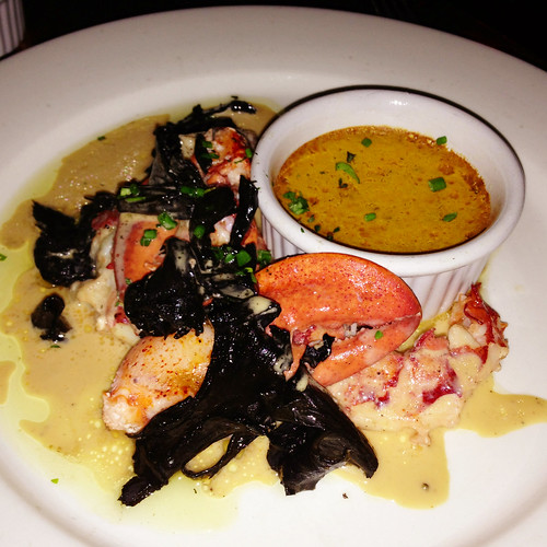 Maine lobster with black trumpets and butter