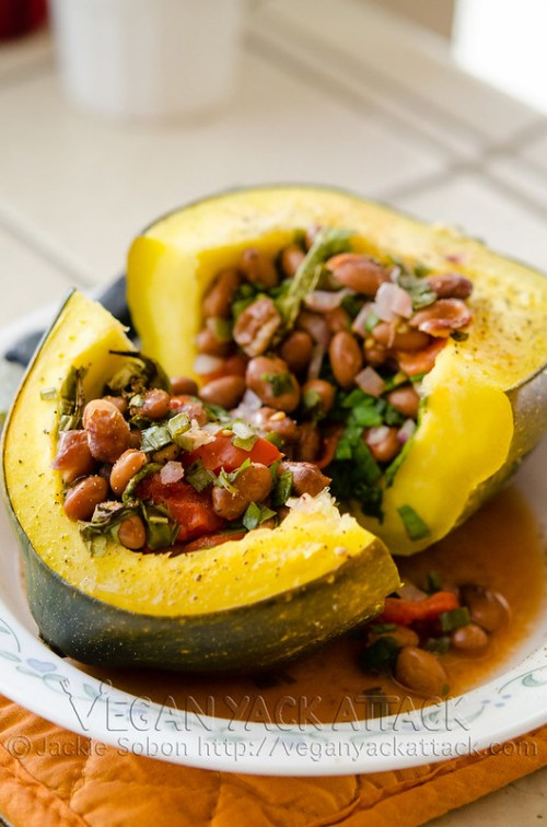 Easy, healthy and delicious Bean-Stuffed Acorn Squash with Mexican flair.