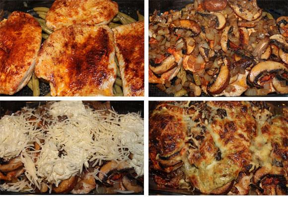 Gratinierte Schnitzel mit Champignons und Pesto