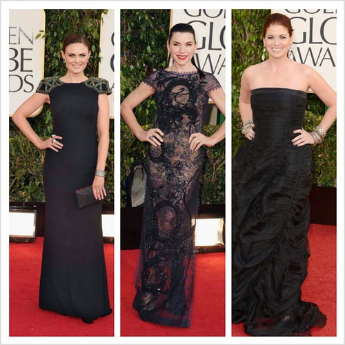 Emily Dechanel in Badgley Mischka, Julianna Maguiles in Emilio Pucci, Debra Messing in Donna Karan