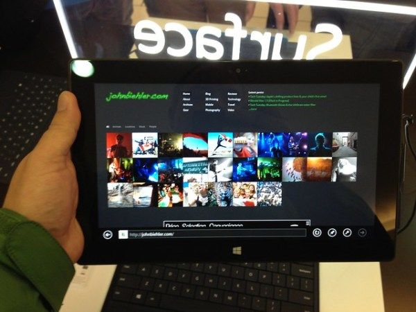 My site on the MS Surface tablet