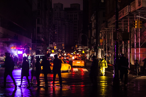 Union Square and Broadway intersection, during Sandy blackout by Dan Nguyen @ New York City
