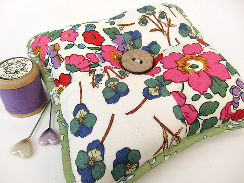Pincushion made with Liberty of London fabrics