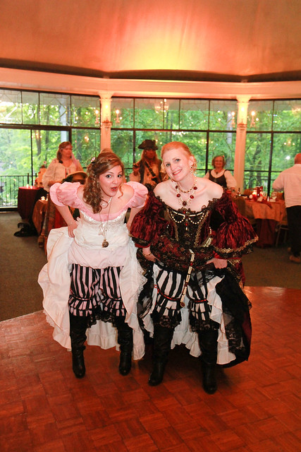 My daughter and I showing off our pirate bloomers and boots.