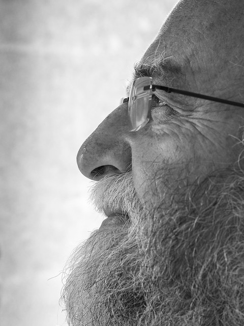 Beard and glasses - in profile