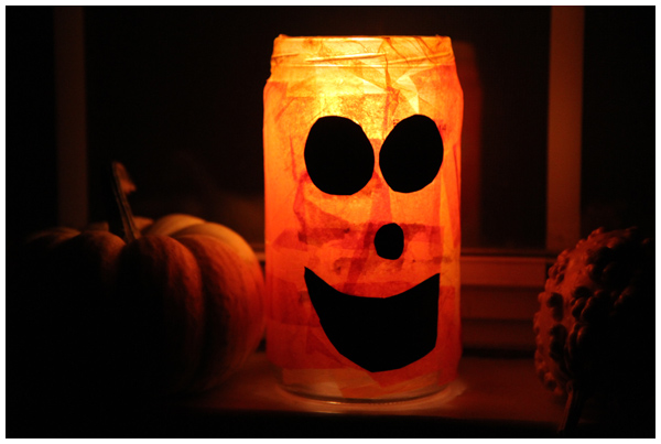 How to Make Recycled Glass Jar Glowing Jack-O'-Lanterns
