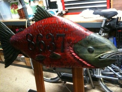 Chain saw carved fish