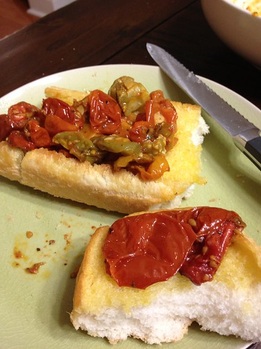 Roasted Tomatoes on Garlic Bread