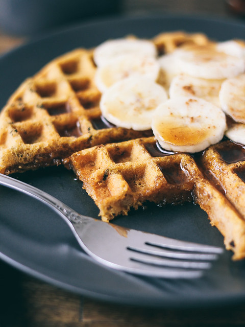 Sweet potato waffles with cacao nibs