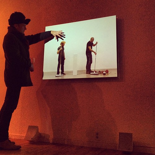 @Western_Front Michael Turner squishes the video head of Feiko Beckers' 'Merely a Part of Life'
