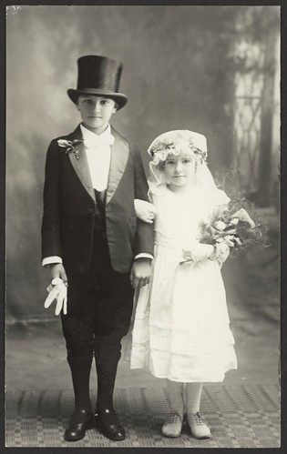 [Portrait of unidentified boy and girl wearing fancy dress wedding costumes, Tumut, New South Wales]