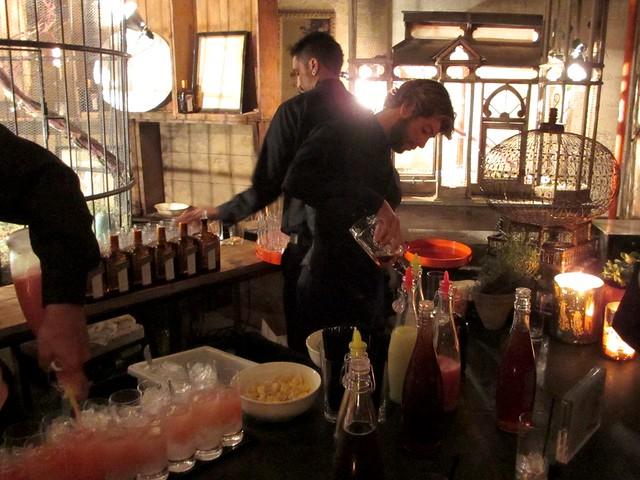 Preparing Cointreau cocktails.
