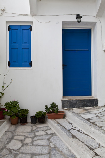 Ano Syros, Greece, Greek, island, Syros, houses, white and blue, blue door