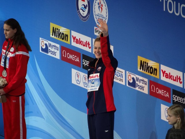 Olivia Smoliga on the Istanbul 2012 medal podium