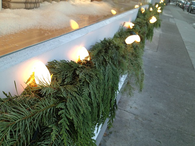 Evergreen garland with lights