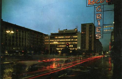 postcard - bolzano - piazza mazzini - notturno - 1966