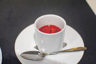 panna cotta with raspberry