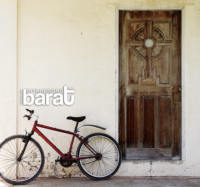 bike in a church in madridejos bantayan island cebu