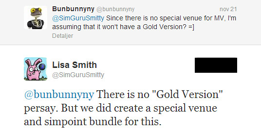 Twitter - SimGuruSmitty- @bunbunnyny There is no -Gold ...