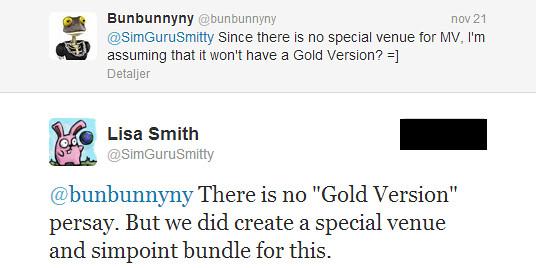 Twitter - SimGuruSmitty- @bunbunnyny There is no -Gold ...