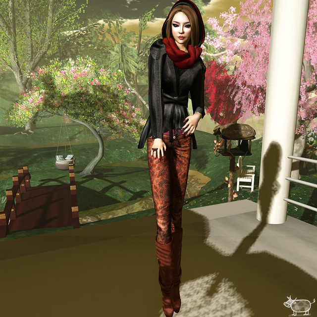 gizza skinny pants mesh bouse leather maitreya radical boots evi hairs and scarf mons lipstick