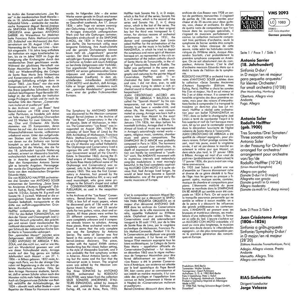Antonio Sarrier - Sinfonie D-Dur