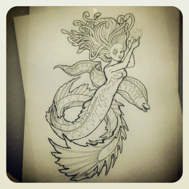 Final inking of the night. #merkingdom #coloring book . #eel . Hand and neck so tired. Have a great evening all!