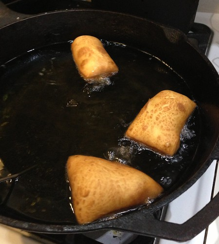 Frying the beignets