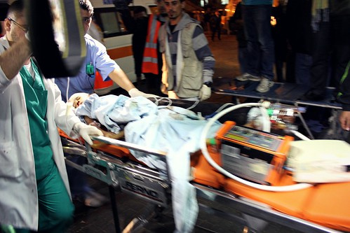 Baby rushed to Shifaa Hospital, Gaza