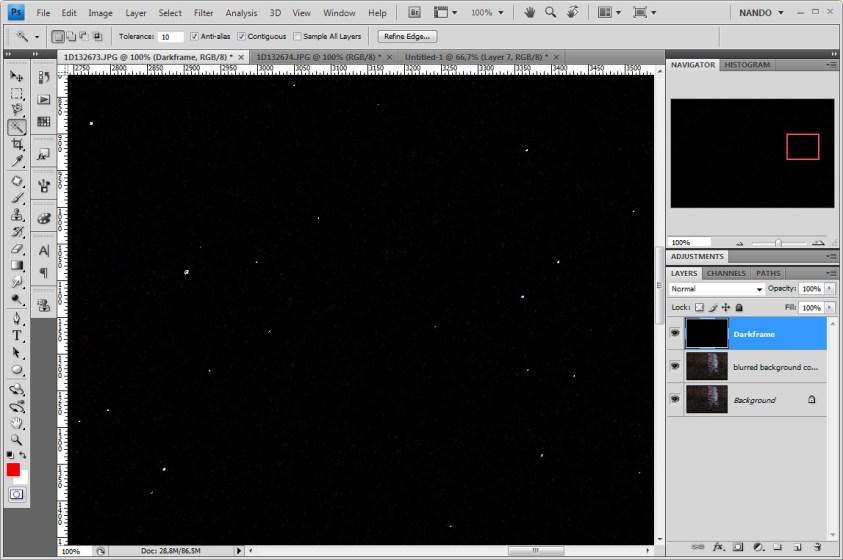 Hot pixels verwijderen met een dark frame