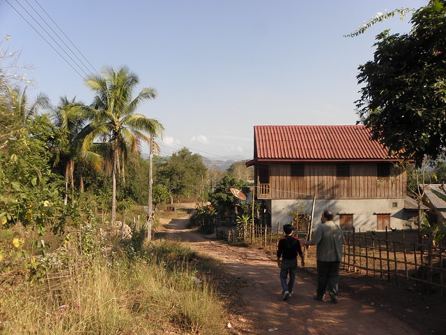Walking throughh a village in Laos