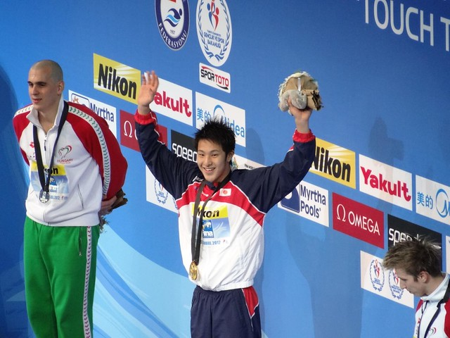 Daiya Seto (JPN) on the Istanbul 2012 medal podium