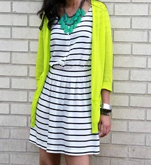 Navy and White Stripes_Neon Yellow Cardigan