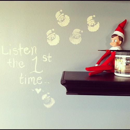 Buddy got into big trouble last night. Good thing we are painting the kitchen and cabinets this week. #elfontheshelf