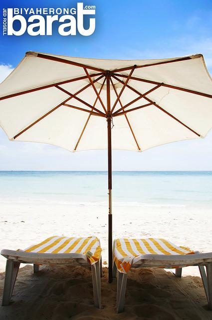 Beach umbrellas in Boracay Island
