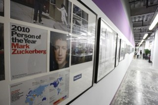 Mark Zuckerberg on wall at Facebook headquarters