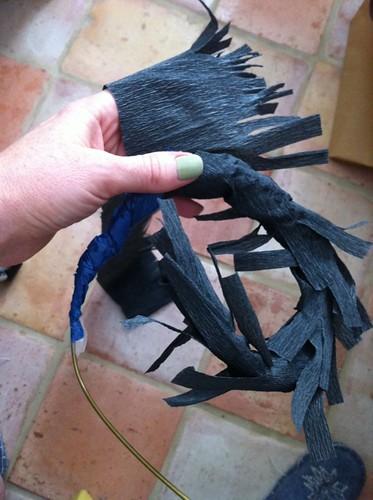 Papier Mache Cat tail in progress