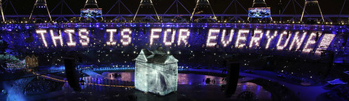 Figure 1 — Sir Tim Berners-Lee sends a message at the London 2012 Olympics.