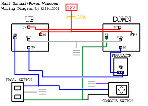 Half Manual/Power Window Wiring Diagram