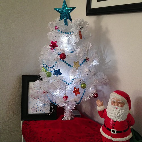 Tiny white sparkly tree decorated!
