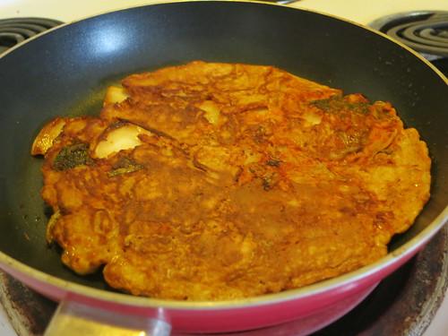 Kimchi pancake pizza