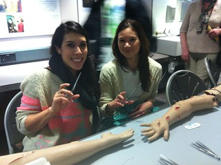 Eliza & Rosie learning how to suture