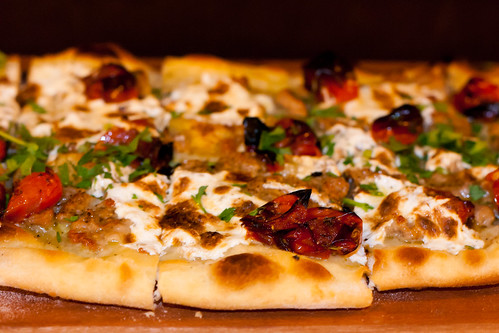 Spicy Duck Sausage Flatbread
