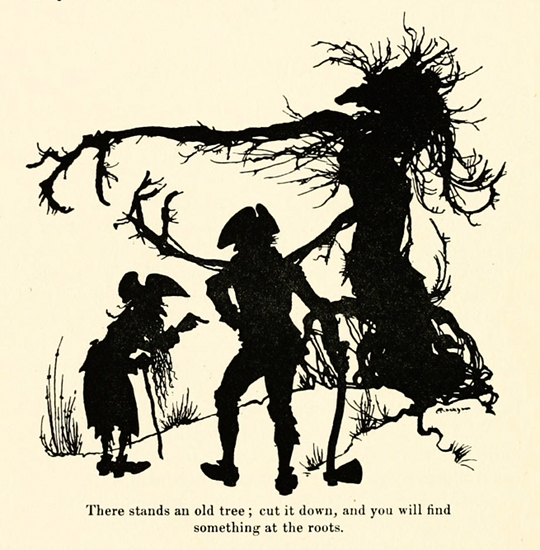 Illustration by Arthur Rackham from the 1916 English translation edition of Kinder-und Hausmärchen – Source.
