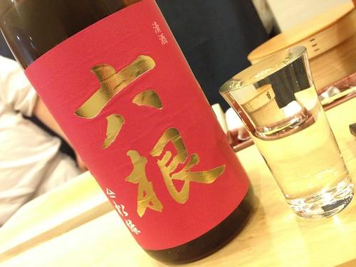 日本酒は六根という青森の地酒から@鮨処やまだ