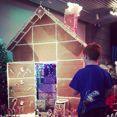 A giant gingerbread house.